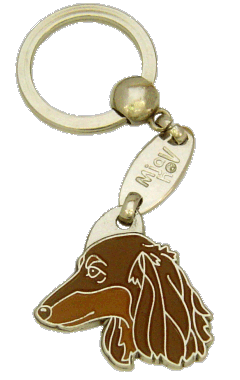 DACHSHUND LONGHAIRED BROWN - pet ID tag, dog ID tags, pet tags, personalized pet tags MjavHov - engraved pet tags online